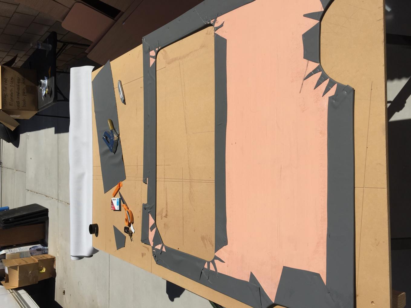 Backside of upholstered panel