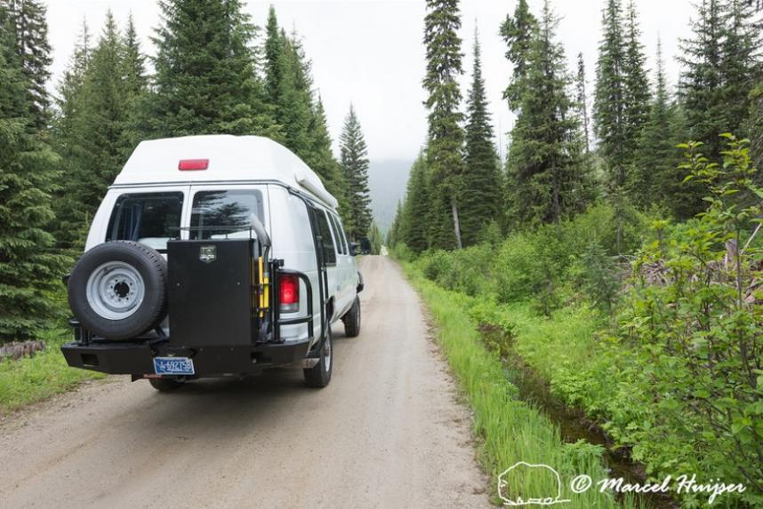 DSC6203 Our Ford E350 4x4 camper van on dirt road, Elk meadows loop road, Idaho, USA