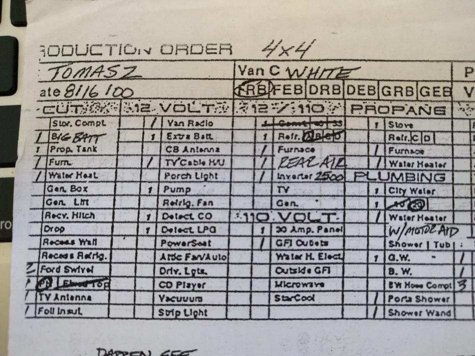 """Partial view of 2000 SMB production order (left hand columns).  I note that a 12 volt """"Rear Air"""" is indicated but the 110 volt """"Starcool"""" is not selected."""