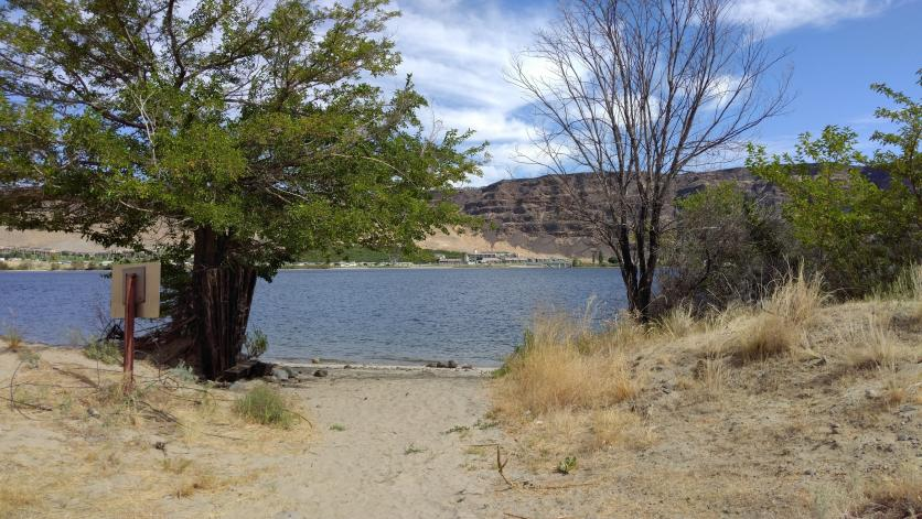The one legal camp site on West Bar, where the Elk migrate down to in winter.  It's got it's own little beach at Columbia River level.