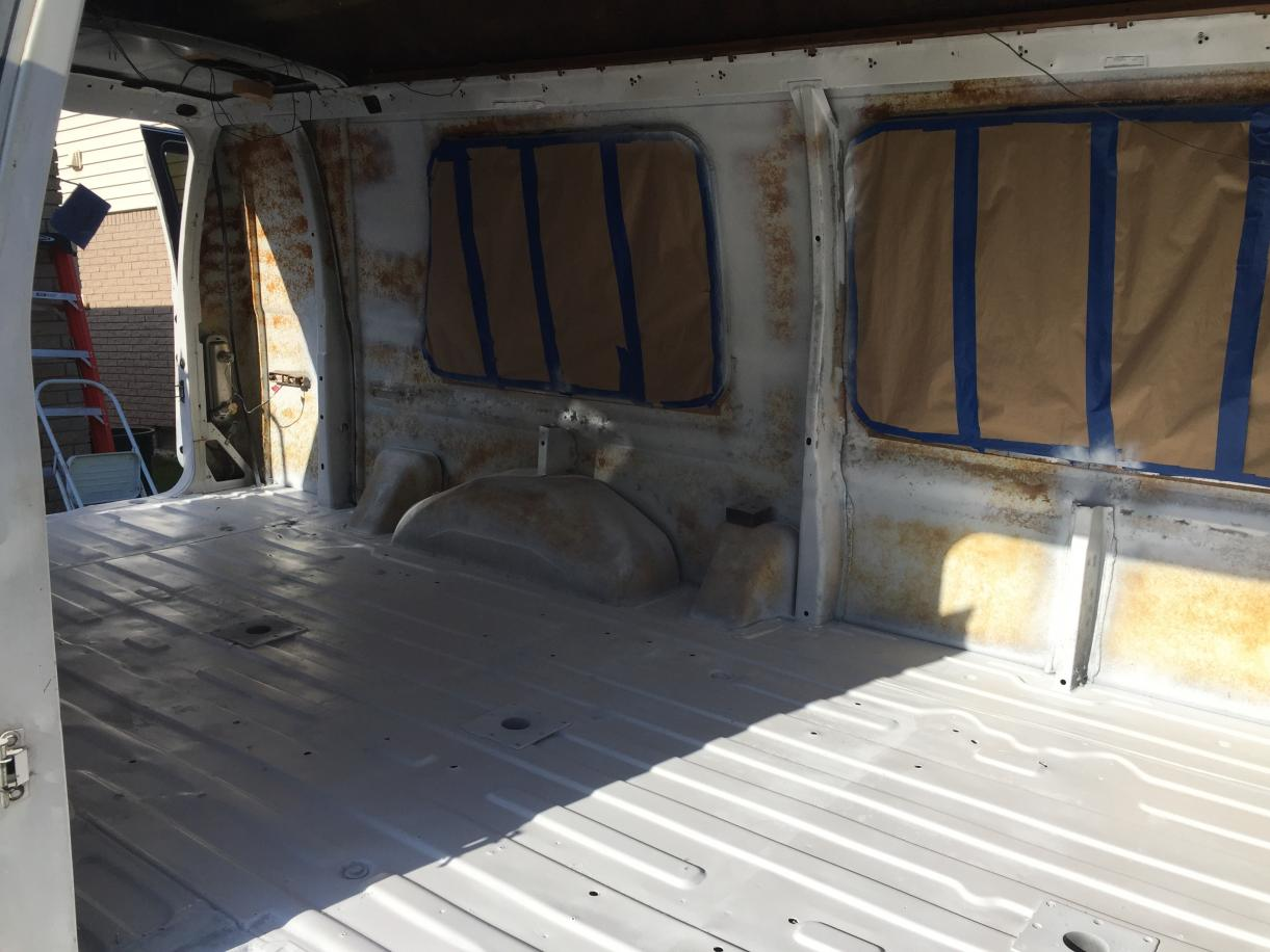 White paint coat on floor.
