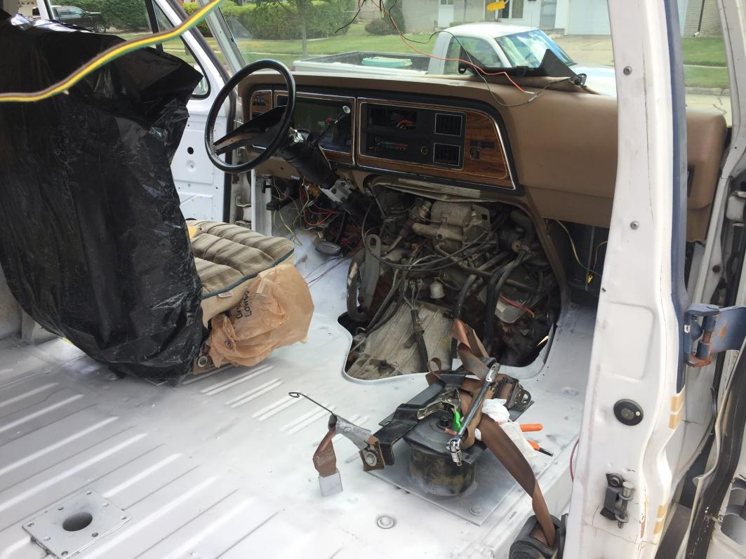 Painted front cab floor glossy white.
