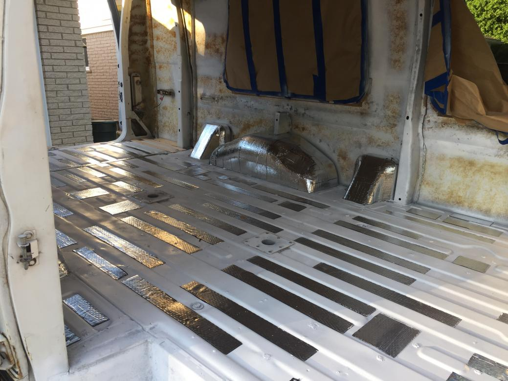 """Installed Noico 80mil butyl sound deadener on floor grooves. Used the Noico metal roller for install and liked it. 25-30% coverage is effective (I've read). Adding 1/4"""" birch plywood on top of sound deadener for a pretty level floor surface for insulation."""