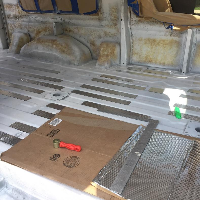 """Installed Noico 80mil butyl sound deadener on floor grooves. 25-30% coverage is effective (I've read). Adding 1/4"""" birch plywood on top of sound deadener for a pretty level floor surface for insulation."""