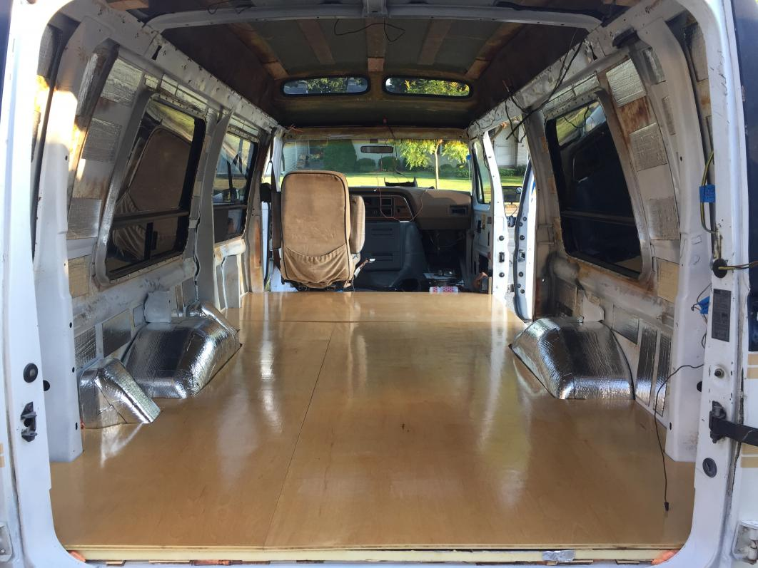 """I put several coats of clear polyurethane varnish on the 1/2"""" birch subfloor. 4 on top, 2 on bottom. Sanded lightly with steel wool between for smoother finish. I may have done too nice a finish job since it was mainly for extra waterproofing and is gonna be covered later with vinyl plank flooring."""
