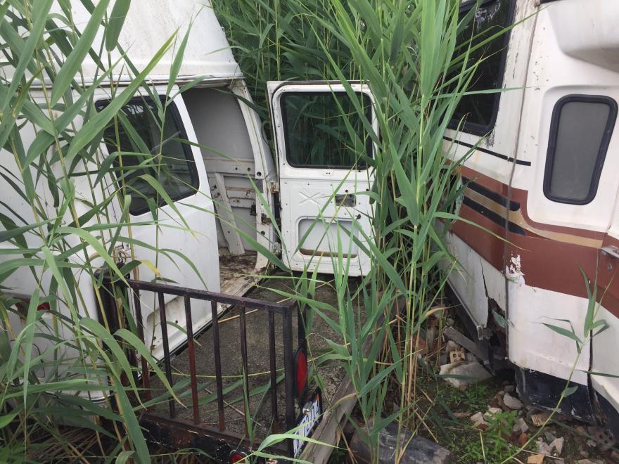 Junkyard adventure: Van 1 found a rear tail light assembly.