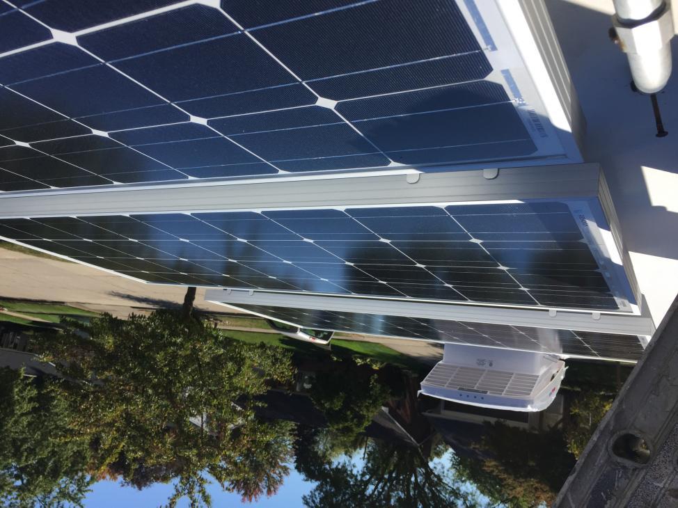 Fitting solar panel layout. x3 100watt Renogy Solar Panels behind MaxxAir Fan
