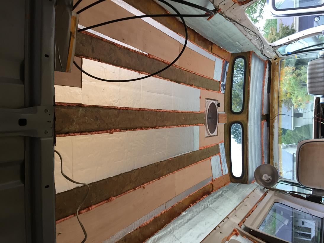 """Ceiling insulation. Strips of 1/2"""" Rigid Polyiso board adhered with Greatstuff Pro."""