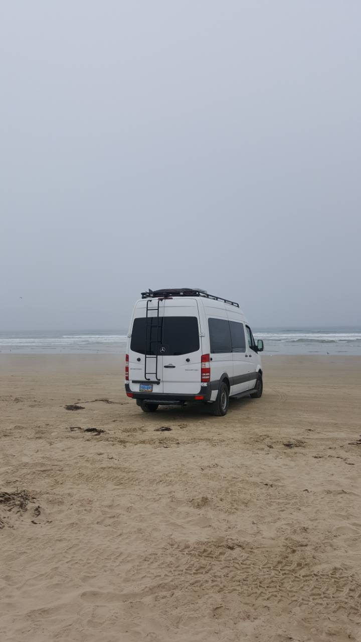 Camped Sea level at Pismo Beach, June 2018.   Two roof mounted 100 watt panels, Controller, Inverter & Batteries including MaxxAir Vent, 6 Led Light strip, Side & Rear steps mounted to a new tow hitch, rear mounted ladder all cost around $3,500.00