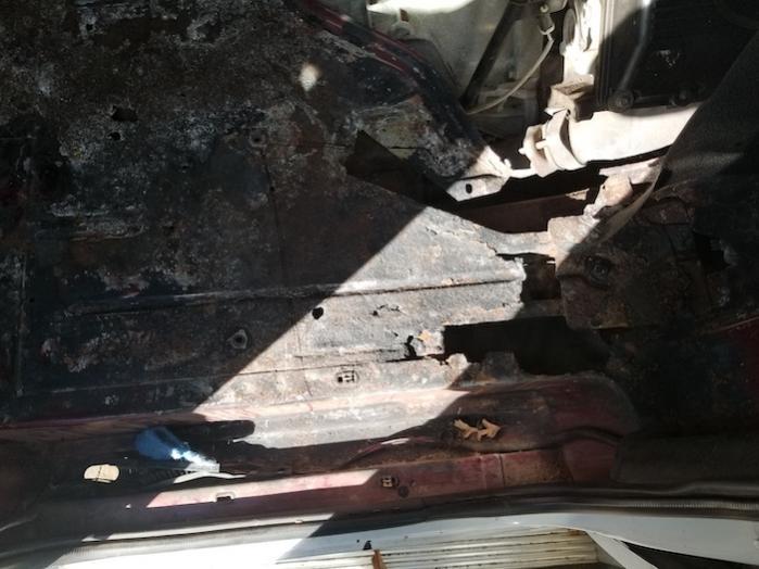 Passenger Side Floor Pan Rust Damage
