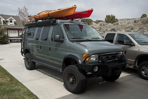 The YURT with both kayaks loaded.