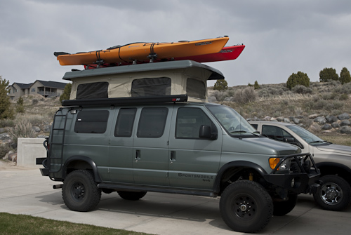 Easily supports both kayaks. About 130 lbs with boats, gear, cross bars and saddles.