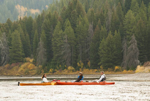 Kayaking with friends on the Snake River, Tetons