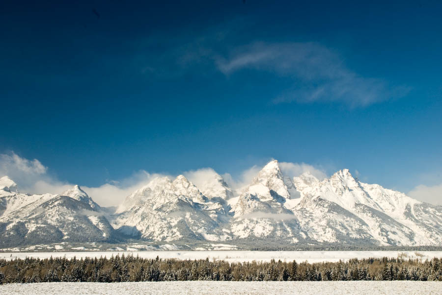 Teton Range in winter.