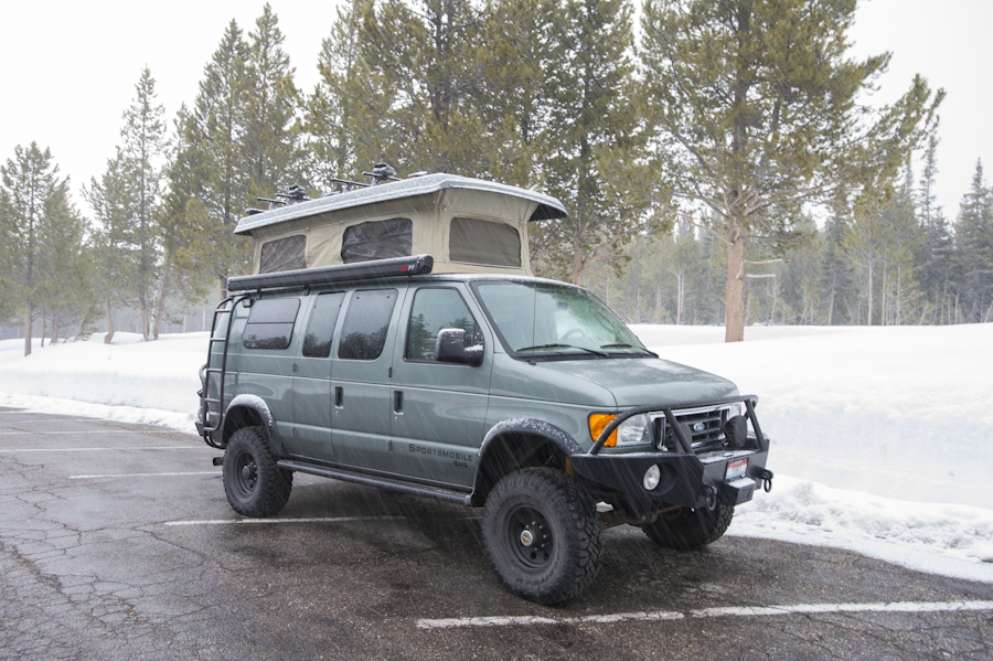 Camping at the Colter Bay parking lot during winter, Grand Teton National Park.