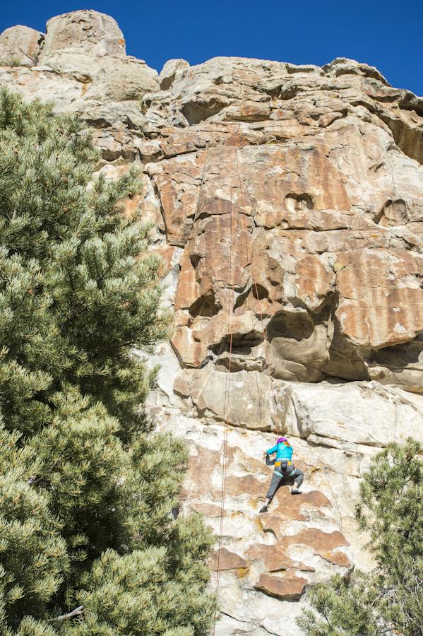 Climber on the backside of Bath Rock, City of Rocks, Almo, ID
