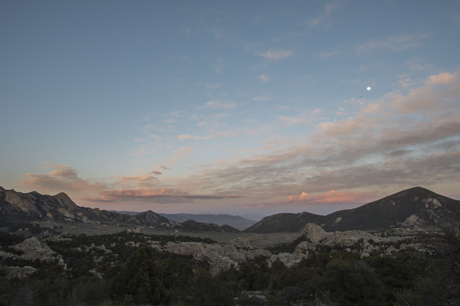 Looking east at the City of Rocks, Almo, ID. Full moon and sunset.