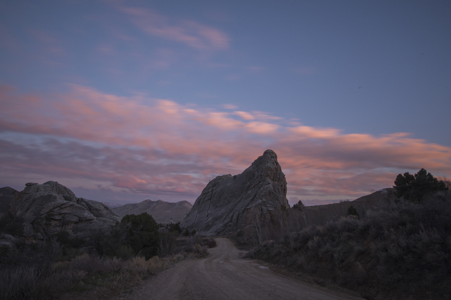 Bath Rock at sunset, City of Rocks, Almo, ID
