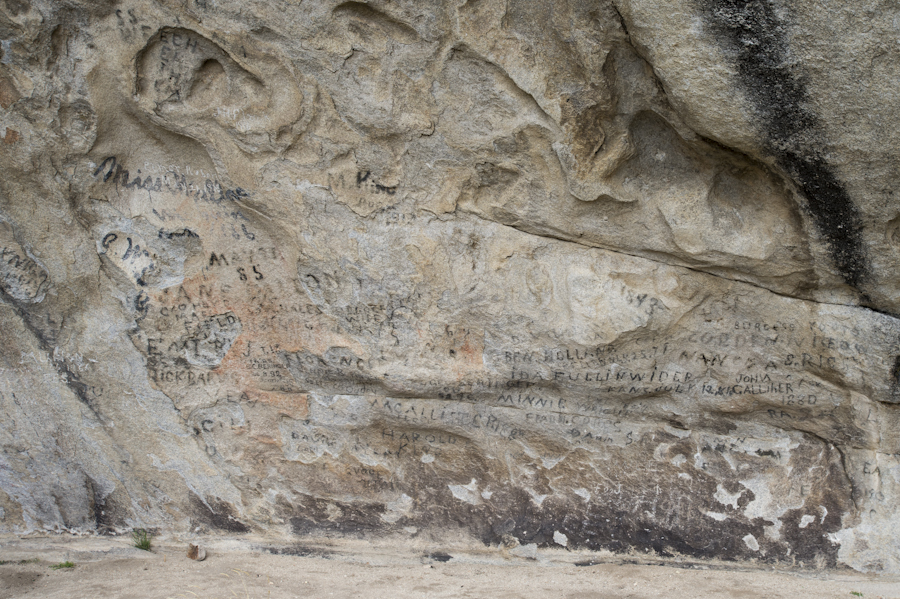 Pioneer signatures on Camp Rock, City of Rocks, Almo, ID. The California Trail runs through this area.