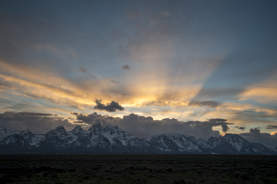 Sunset over the Tetons from Shadow Mountain boondocking site.