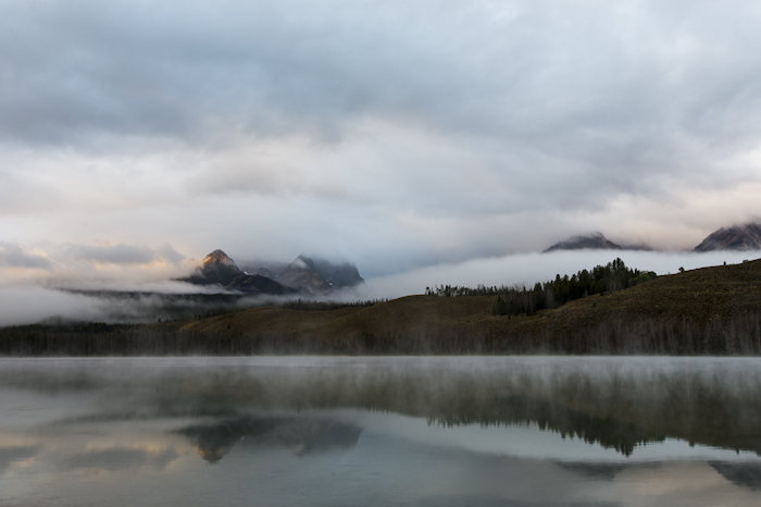 Cloudy sunrise on Little Redfish Lake, Stanley, ID