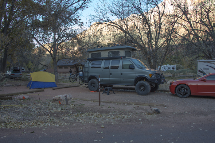 Camping at the Watchman Campground, Zion National Park