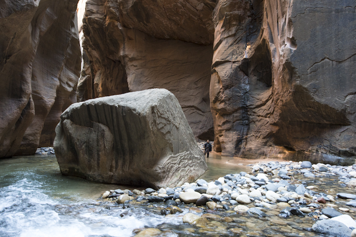 A friend and I, hiking the Narrows in Zion National Park.