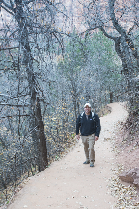 Waymon Cornell hiking a trial in Zion National Park. Waymon and I met for the first time at the Watchman Campground in Zion. We continued to explore the Park and Southern Utah together. Waymon is the owner of the YETI, his white SMB.