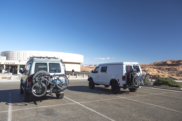Waymon and I stopping at the Carl Hayden Visitor Center before crossing the bridge just downstream of the Glen Canyon Dam.