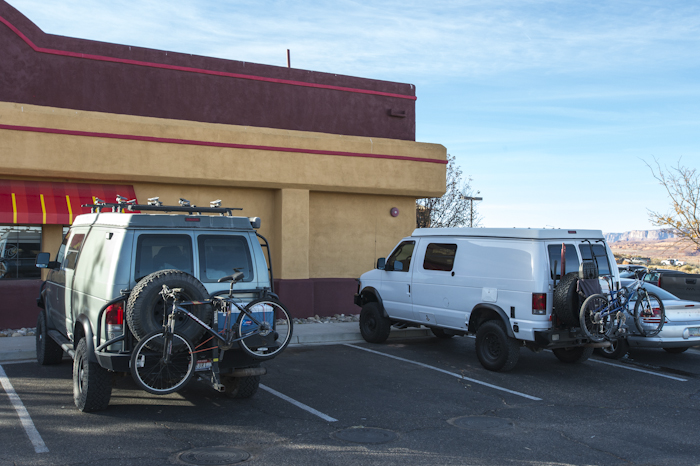 The YURT on the left and the Yeti on the right. Stopped for breakfast before I headed north and Waymon headed south, Page, AR