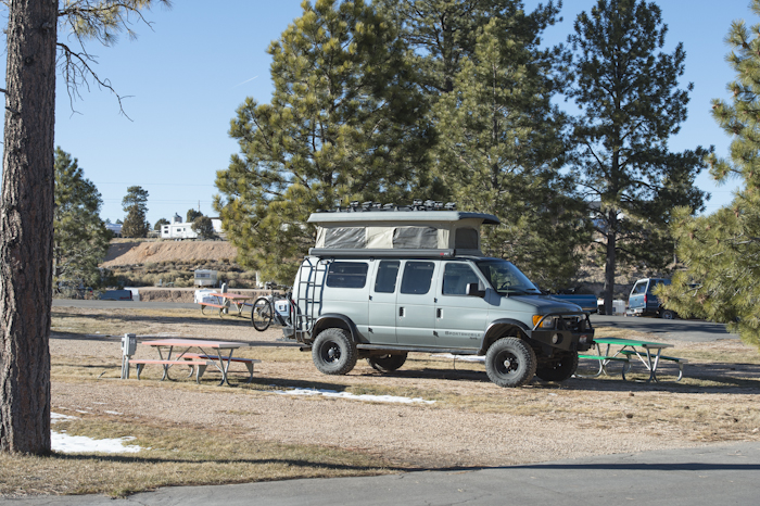 Camping at the Best Western RV Park, with electrical and showers in Bryce Canyon