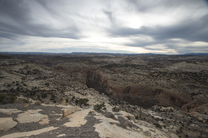 Looking southwest into a deep ravine along highway 12, north of Escalante, UT