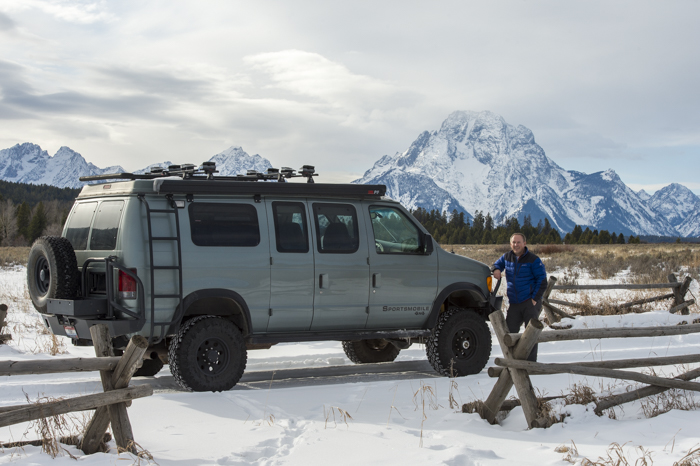 That's me and the YURT on the Old Cattleman's Bridge Road, with Mount Moran in the distance, Grand Teton National Park