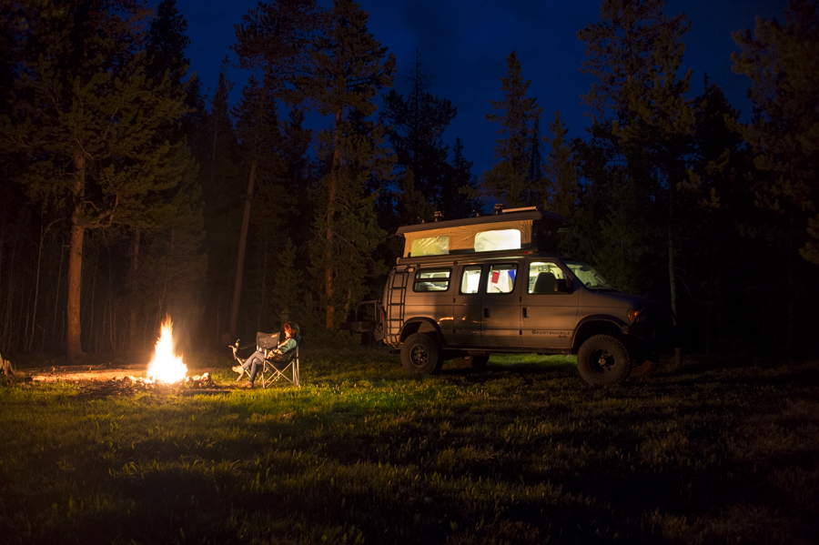 Sitting around the campfire at the end of the north service road just outside of Grand Teton National Park.