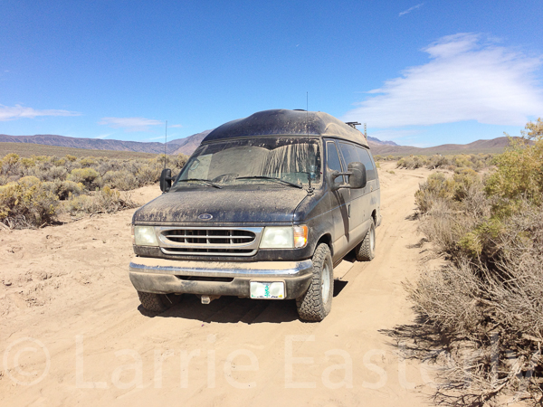 The van after extraction from the dust ruts.