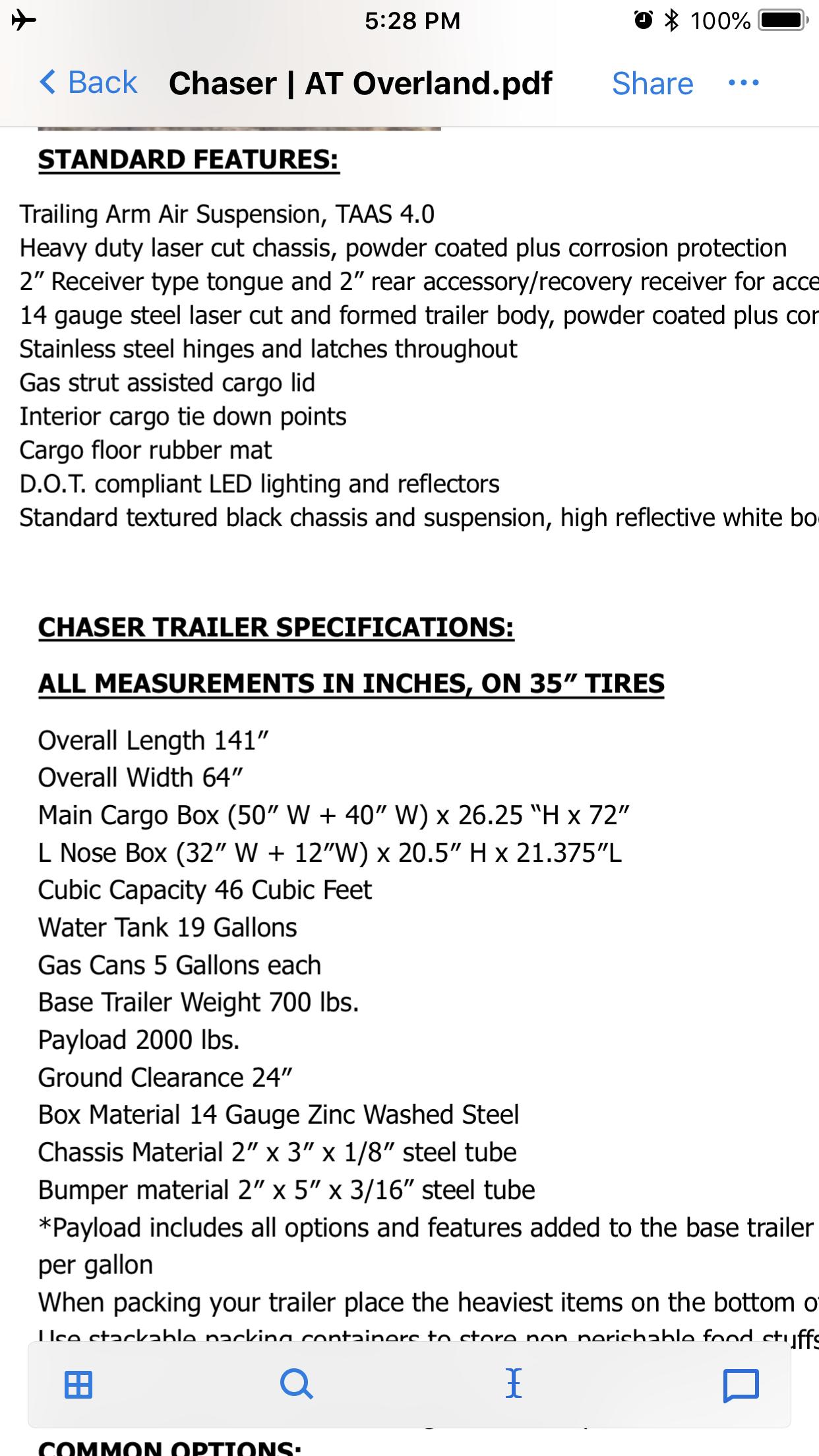Chaser specs