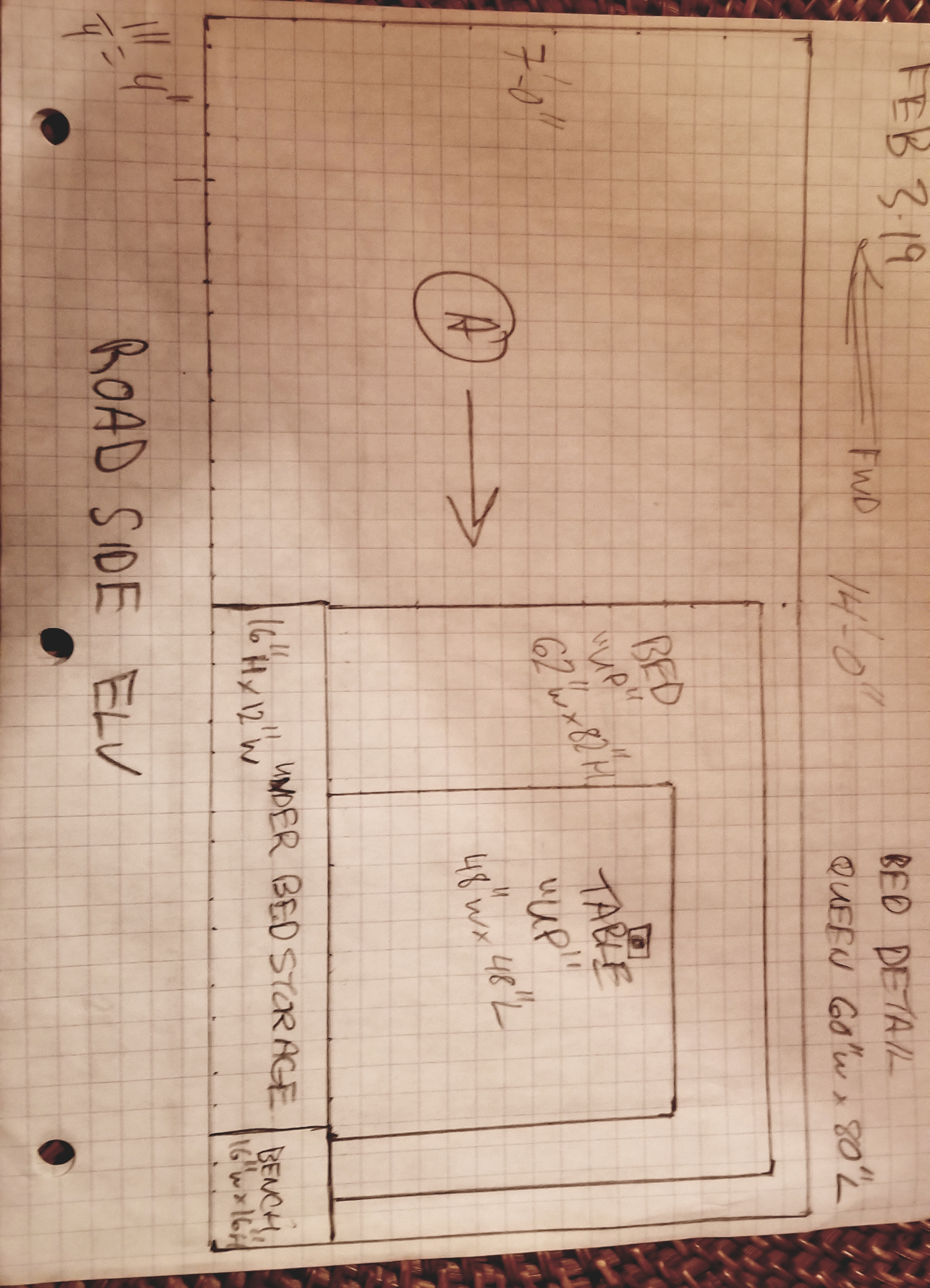 Road side elevation/section at bed/table