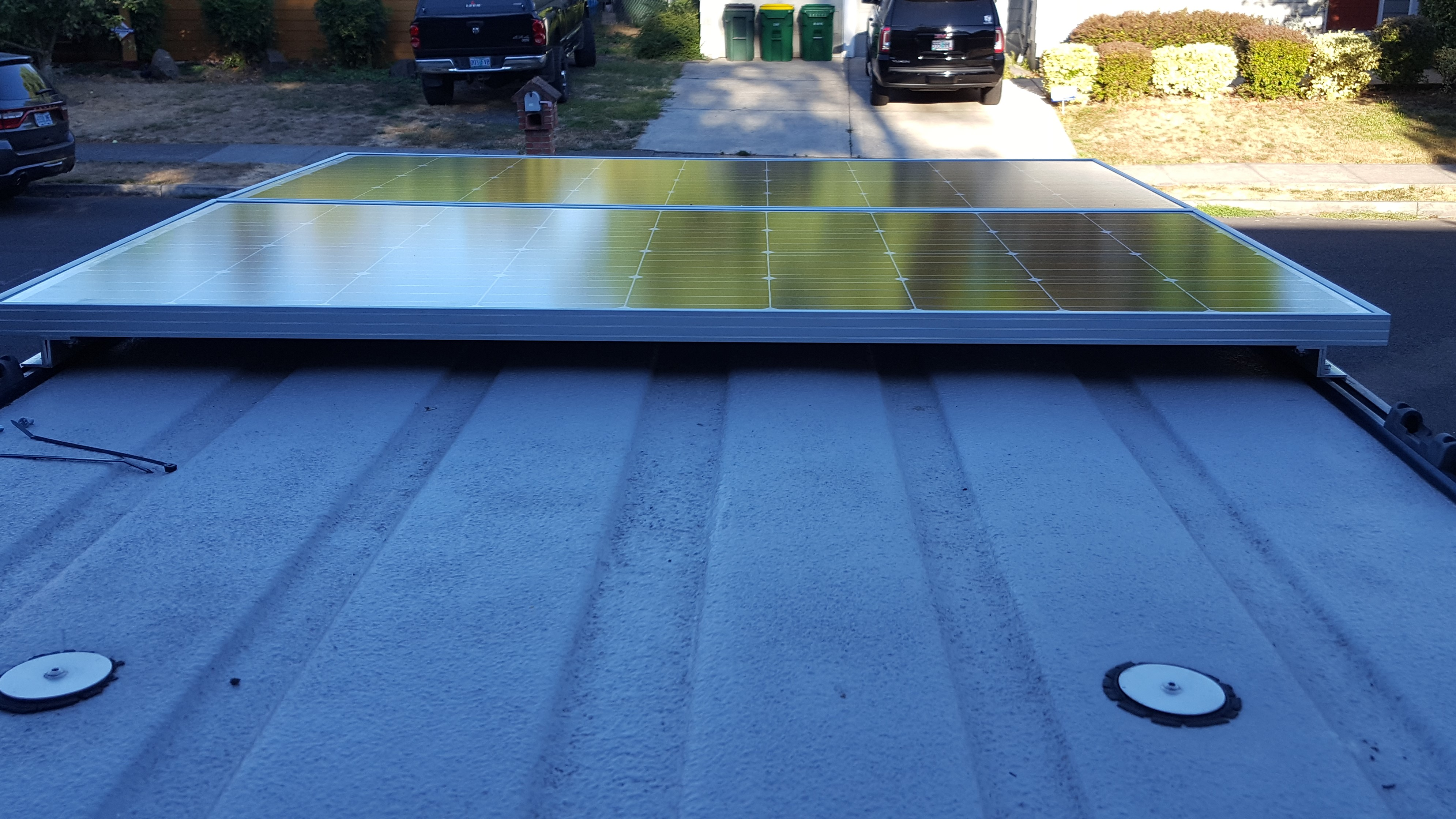 Solar Panel Mounted On Yakima Or Thule Tracks