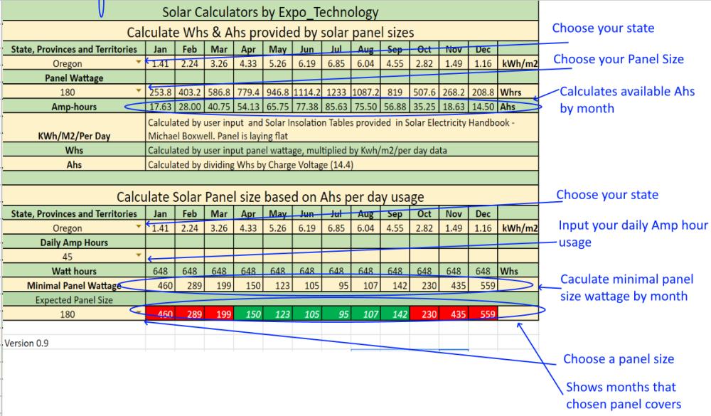 Solar Calculator spreadsheet.