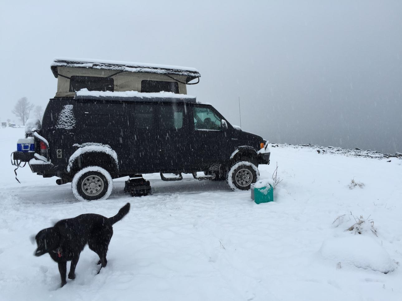 Spring camping in AK...  Notice the hanging top gasket.  Victim of dropping the top and going to dinner in Seward during the storm... then pushing the - frozen down - top back up.