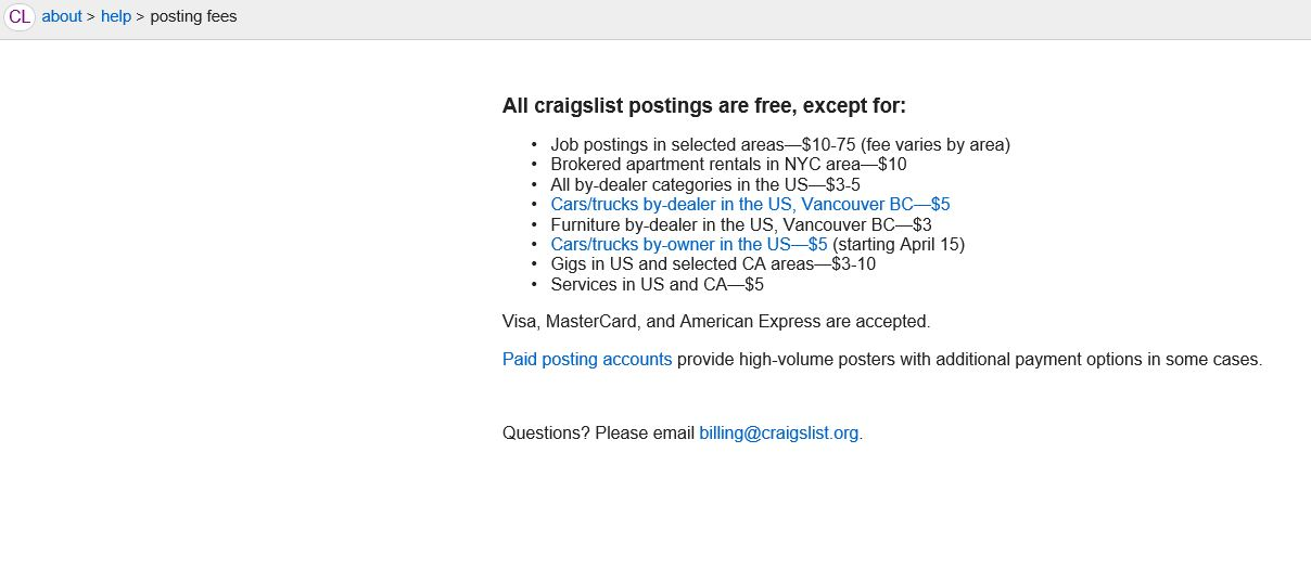 Craigslist to charge for Car/Truck FS ads - Sportsmobile Forum