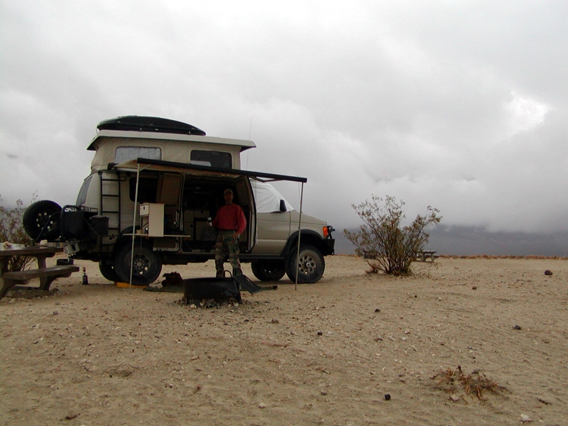 CJ - Eureka Sand dunes camp in the rain